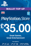 PlayStation Wallet Top-Up £35 GBP. UK PSN. Konta papildināšana.