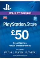 PlayStation Wallet Top-Up £50 GBP. UK PSN. Konta papildināšana.
