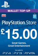 PlayStation Wallet Top-Up £15 GBP. UK PSN. Konta papildināšana.