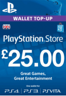 PlayStation Wallet Top-Up £25 GBP. UK PSN. Konta papildināšana.